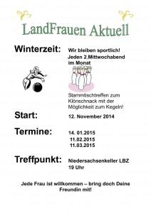 Landfrauen: Stammtischtreffen zum Klönschnack mit der Möglichkeit zum Kegeln! @ Niedersachsenkeller LBZ