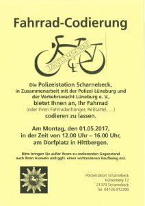 Fahrradcodierung @ Dorfplatz Hittbergen