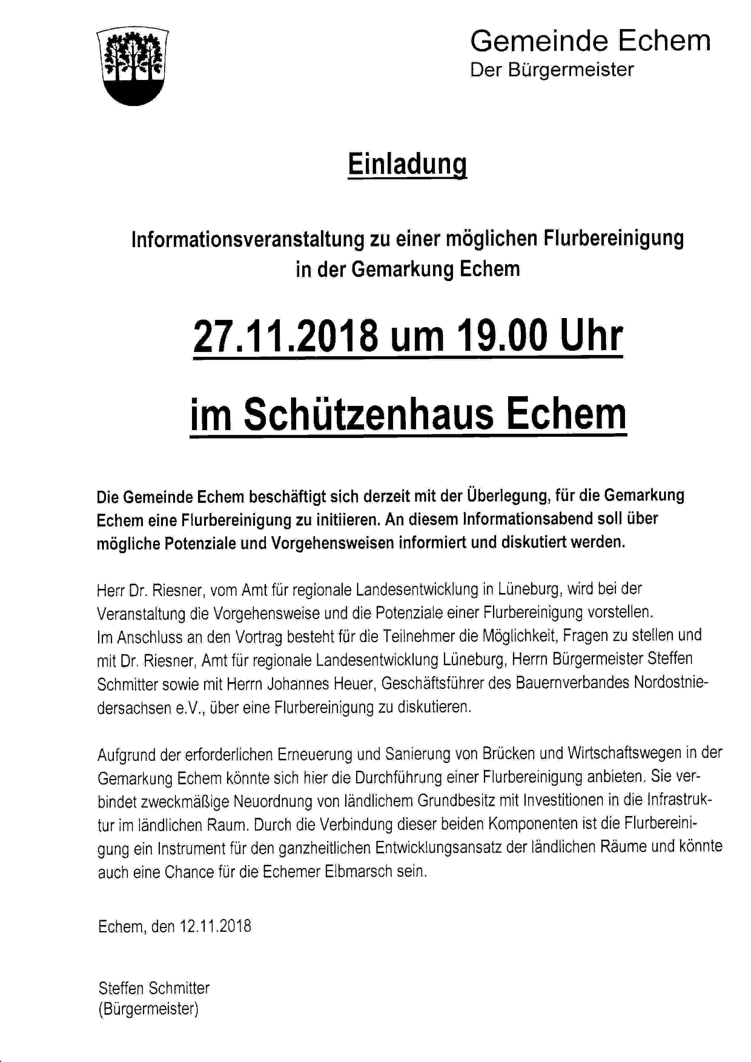 Flurbereinigung in Echem? Infoveranstaltung im Schützenhaus @ Schützenhaus