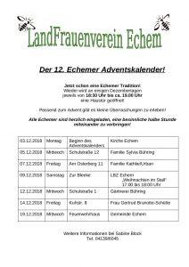 Beginn des lebendigen Adventskalenders @ Kirche Echem